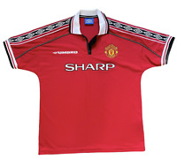 VTG Umbro 90s Manchester United SHARP Soccer/Football Jersey 1/4 Zip Large Red
