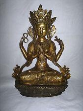 "Buddha Bronze/Messing Statue 37cm/5kg ""Chenrezig"",gesegnet-Tibet,China,Himalaya"