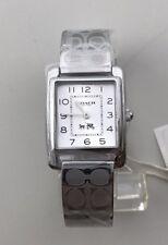 NEW Women's Coach Etched Bangle Bracelet Watch Silver Tone 14502159 NWT