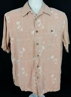 Banana Cabana Men's Silk Hawaiian Shirt Orange w/ White Palm Trees Size Medium