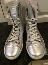 Patrizia Pepe Firenze Silver Hi Top Sneakers, Size 36, US Size 6. Leather.