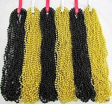 Mardi Gras Beads Gold and Black Disco Saints Steelers Party 6 Dozen 72 Necklaces