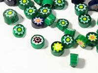 (100) Czech vintage green millefiori mosaic glass cane fritt lampwork supplies