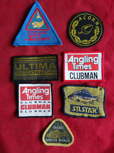 SELECTION OF UNUSED VINTAGE FISHING ADVERTISING CLOTH PATCHES RETRO 1980'S/90'S