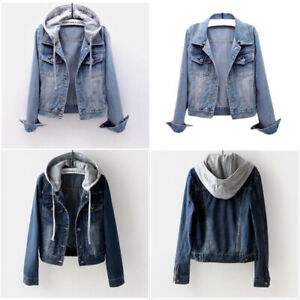 UK Womens Denim Jacket Jeans Ladies Stretch Button Jackets Coat Plus Size 6-18