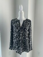 Joie Gray Black & White Silk Animal Print Long Sleeve Tunic Shirt Blouse SZ S