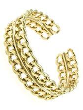 Chain Link Design Cuff Bracelet Gold Tone New Fashion Jewelry
