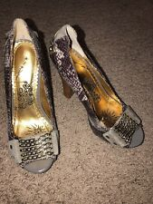Naughty Monkey Heels Pumps Shoes Size 7M Purple  Grey Animal Print Hardware