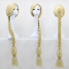 Movie Tangled Princess Rapunzel Wig for Cosplay Long Blonde Braid Synthetic Hair