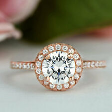 2.20Ct Round Cut Moissanite Diamond Halo Engagement Ring 14K Rose Gold Over