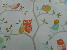 Harlequin Curtain Fabric  'What a Hoot' 3.65 METRES Pink/Aquamarine/Lime/Natural