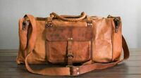 Goat Leather Gym Men Travel Luggage Genuine Bag Brown Vintage Duffle S New Bags