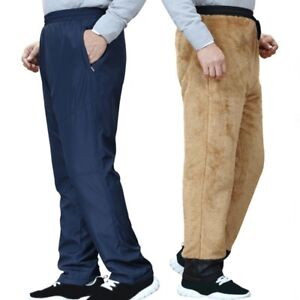 Mens Winter Faux Fur Fleece Lining Pants Thermal Quilted Padded Trousers Bottoms