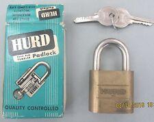 Vintage HURD 5 Pin PADLOCK New In Box NOS Hurd Keys Bronze Body Hardened Steel