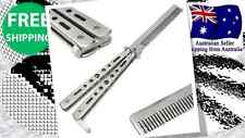 NEW Practice Training Butterfly COMB Knife Folding Trainer Balisong Blade SILVER