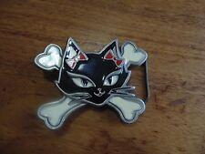 Lucky 13 Apparel Cat With Crossbones Belt Buckle enamel & Pewter Year 2000