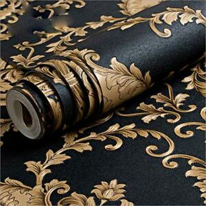 10M European style Vintage Classic Black&Gold Damask Feature Wallpaper Roll 5.3㎡