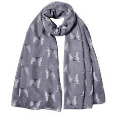 More details for siberian husky dog print ladies scarf grey & taupe lovely gift  fast dispatch
