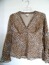 Animal Prints Tunic Blouse Top Monroe and Main Beige Brown Size Small