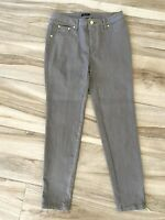 IMAN Womens Jean Denim Jeggings Gray Gold Accents Ankle Zippers Stretch 4S