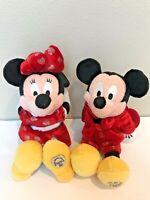 Rare 2 Walt Disney World Bean Bag Valentine Mickey Minnie Mouse Plush Set Lot