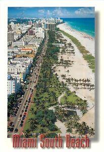 "Miami South Beach Postcard 7"" x  5"" Ocean Drive and Art Deco Hotels Aerial View"