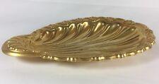 Vintage Electroplated 24 Karat Gold Clam Scalloped Nut Fruit Serving Tray