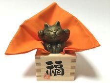Japanese Maneki Neko Lucky Beckoning Cat Fortune Craftsman Pottery handmade F/S