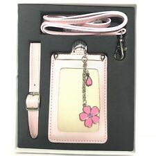 Starbucks Card Document Holder Pink Leather Necklace Flower Thailand Only