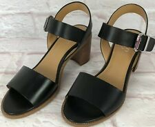 Franco Sarto Womens Sandals 9 Black Leather Harlie Ankle Strap Buckle Heels New!