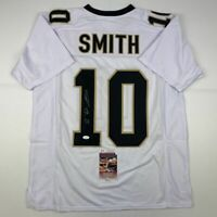 Autographed/Signed TRE'QUAN SMITH New Orleans White Football Jersey JSA COA Auto
