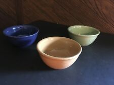 ANTIQUE WESTERN STONEWARE SOUP/CEREAL BOWLS MONMOUTH ILL. MAPLE LEAF STAMP (3)