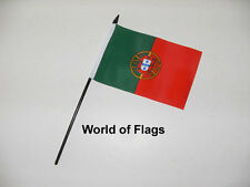 "PORTUGAL SMALL HAND WAVING FLAG 6"" x 4"" Portuguese Table Desk Top Crafts Display"