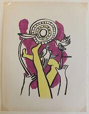 """Fernand Léger lithographie """"Le cirque"""" Circus """"Jongleur et colombes"""" 1950"""