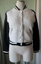 Junior's Bongo Black White Baseball Jacket NWT $50 M Faux Lambswool ~Snap Front