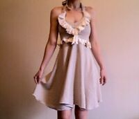 Leanne Marshall designer Mini Dress Beige with ruffle. New!