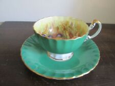 Aynsley England Tea Cup And Saucer Orchard Fruit Green Signed D. Jones
