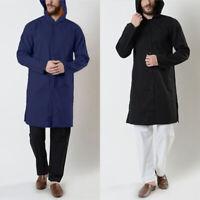 Men's Hooded Muslim Kaftan Long Sleeve Abaya Saudi Arab Hoodies Thobe Tunic Tops
