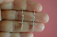 925 Sterling Silver Plain Cross Earrings-Religious Cross Dangle Earrings Jewelry