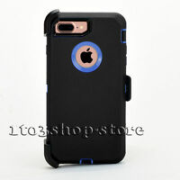 iPhone 7 Plus & iPhone 8 Plus Defender Hard Case w/Holster Belt Clip Black Blue