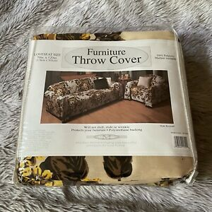 Madison Furniture Throw Cover Brown Yellow Floral Loveseat Size 100% Polyester