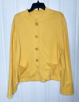 Coldwater Creek Size XL Womens Yellow Button Knit Cardigan Pockets