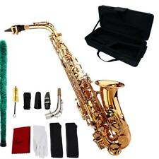 School Professional Brass Gold Alto Eb Sax Saxophone+Case +Mouthpieces H1Z7