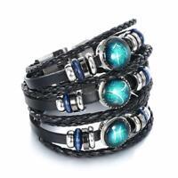 12 Constellations Leather Zodiac Charm Bracelet Jewelry Women