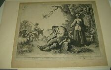 "BELLE GRAVURE Signée JOSEPH KALTNER "" SCENE PASTORALE BERGERS "" 1780-90 AUTRICHE"