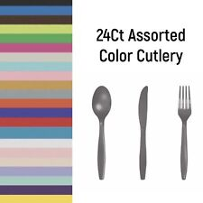 24Ct Heavy Duty Disposable Assorted Cutlery, Assorted Cutlery, Plastic Cutlery