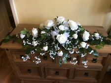 Wedding Top Table Arrangement, Artificial White roses & gip with foliage