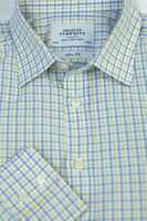 Charles Tyrwhitt Men's Yellow Blue Check Cotton Dress Shirt 16 x 34