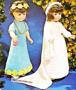 "BRIDE & BRIDMAIDS DRESS - doll 20"" 51cm - DK or 8ply - COPY  knitting pattern"