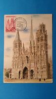 FRANCE CARTE MAXIMUM YVERT 1129 CATHEDRALE ROUEN 35F ROUEN 1957 L 246